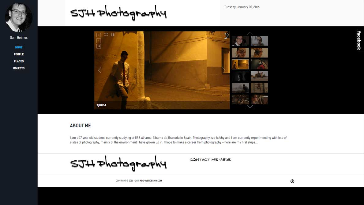 A photography website showing a portfolio.