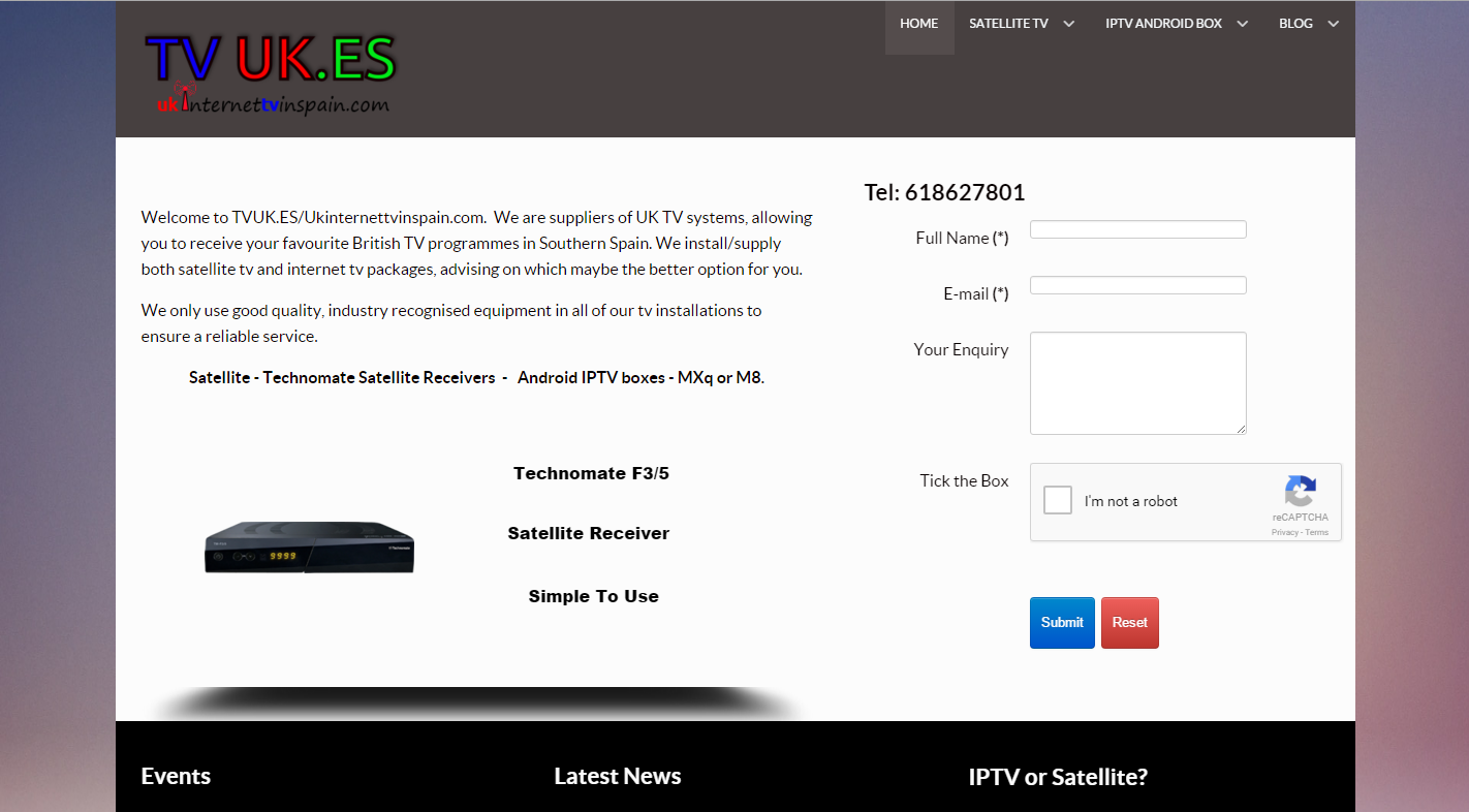 A small business website advertising tv services.